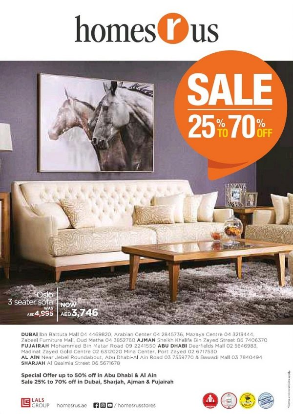 Home R Us Offers Furniture Up To 70 Off Oslo 3 Seater Sofa At Aed 3746 Limited Time Offer