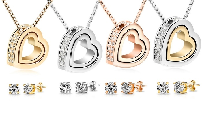 one aed 89 two aed 149 or four aed 259 double heart jewellery sets with free delivery. Black Bedroom Furniture Sets. Home Design Ideas