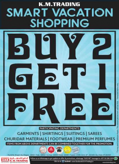 KM Trading Offers - Buy 2 Get 1 on Clothing, Footwear and Perfumes. Limited Time Period