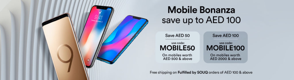 Souq Offers - Up to AED 100 Discount for Mobiles!! This Offer is Valid till 25 August 2018